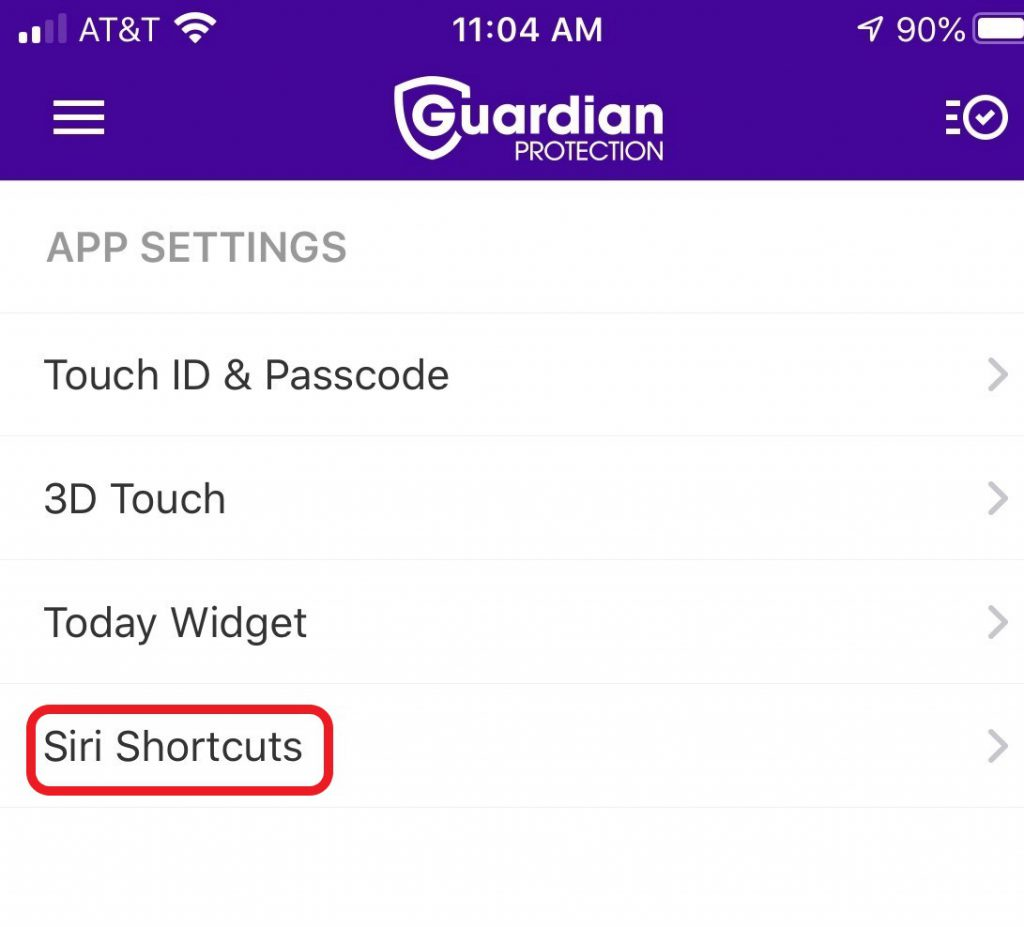 Siri Shortcuts Guardian App