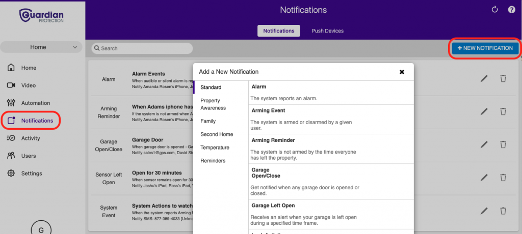 create a new notification