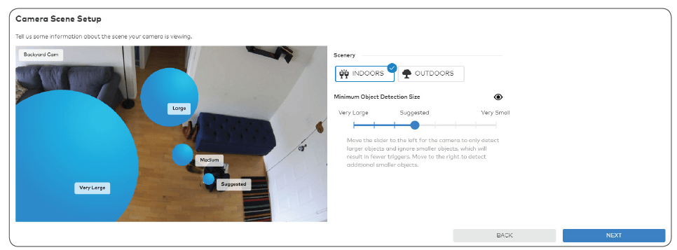 Demonstrating how to set up a Camera Scene with a video security system.