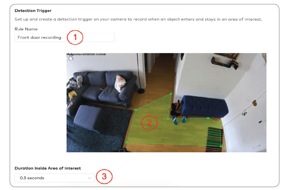 Demonstrating how to set up a Detection Trigger for a video security system.